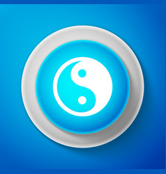 White yin yang symbol of harmony and balance icon vector