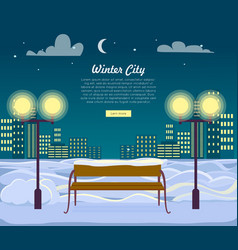 Winter city web banner urban town at night vector