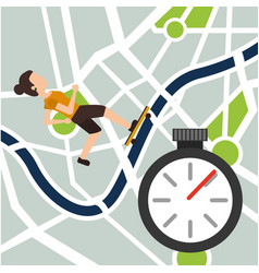 Young woman in skateboarding on map navigation vector