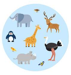 zoo wild animals flat set vector image
