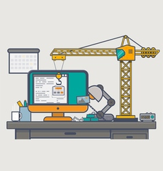 Building website with crane vector image