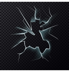 Cracks on broken window with cracks vector image