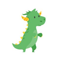 cute green dragon vector image