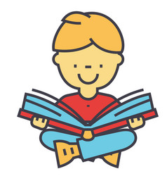 kid reading a book concept line icon vector image vector image
