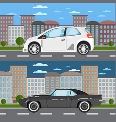 Muscle car and universal car in urban landscape vector