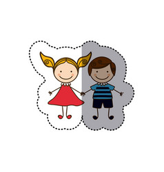Sticker colorful caricature couple boy with curly vector