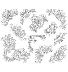 vintage style design elements corners set vector image vector image