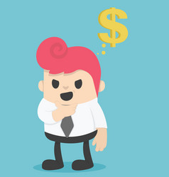 businessman think about the money vector image