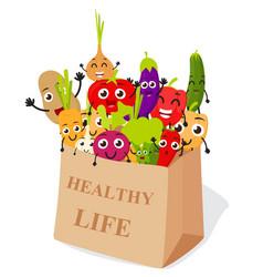 funny cartoon vegetables vector image
