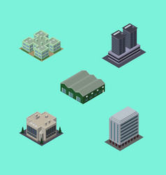 isometric urban set of tower office warehouse vector image