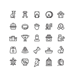 Pet shop animals thin line icons outline vector image vector image