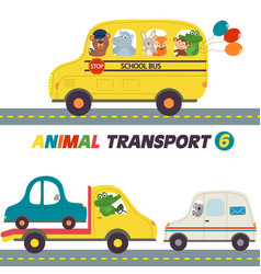 set of isolated transports with animals part 6 vector image