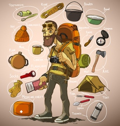 Traveler and a set of things for travel vector image vector image