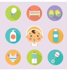 Baby treatment flat icons set vector image