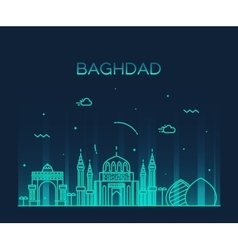 Baghdad skyline linear style vector image vector image