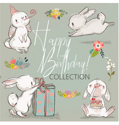 cute birthday hares collection vector image