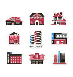 Digital black red city buildings vector