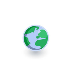 earth planet isometric flat icon 3d vector image