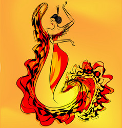 figure of flamenco dancer girl vector image