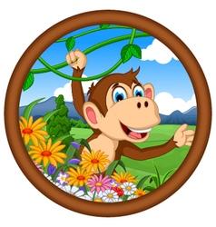 monkey cartoon hanging vector image vector image