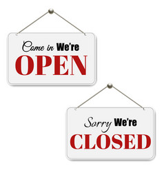 open and closed signs set vector image