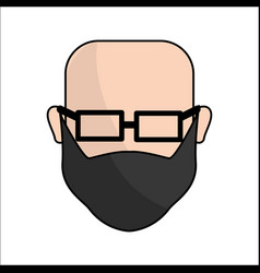 people avatar face men with glasses icon vector image