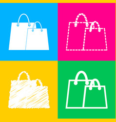 shopping bags sign four styles of icon on four vector image vector image