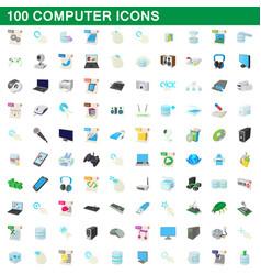 100 computer set cartoon style vector image vector image
