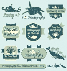 Oceanography Class Labels vector image vector image