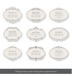 Vintage oval frames and labels set vector image
