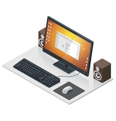 workplace with computer and peripherals vector image vector image