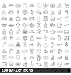 100 bakery icons set outline style vector image