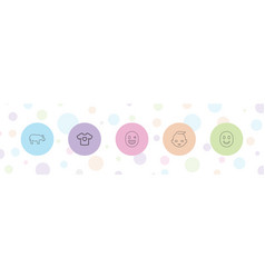 5 cute icons vector