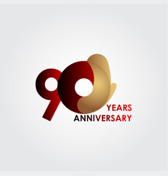 90 years anniversary celebration red gold vector