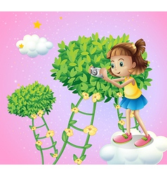 A girl taking pictures near the ladder plants vector