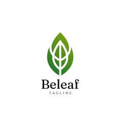 Abstract elegant leave shape logo design template vector