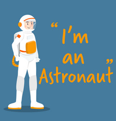 astronaut character with white uniform on blue vector image