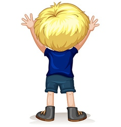 Back of a little boy with blond hair vector