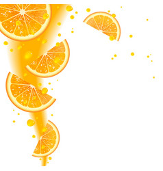 Background of Oranges and Juice Splashes vector