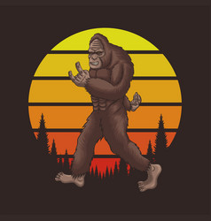 bigfoot rocker retro sunset vector image