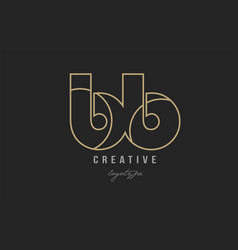 Black and yellow gold alphabet letter bb b b logo vector