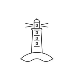 black thin line lighthouse icon vector image