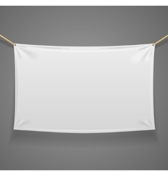 Blanc Fabric Rectangular Banner with Ropes vector image