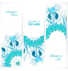 Blue floral ornament banners set vector image