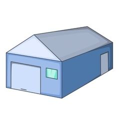 Blue warehouse building icon cartoon style vector image