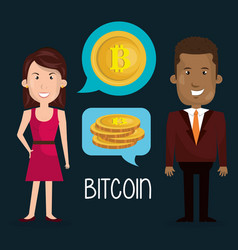 business couple with bitcoin vector image
