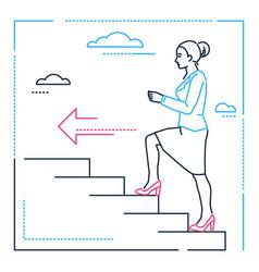 Businesswoman climbing a ladder - line design vector