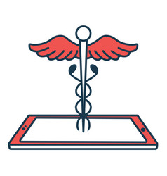 Caduceus with smartphone icon concept for vector