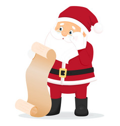 cartoon surprised santa claus with wish list vector image