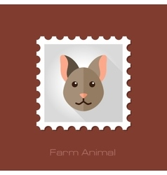 Cat flat stamp Animal head vector image